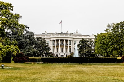 architectural photography of white house president zoom background