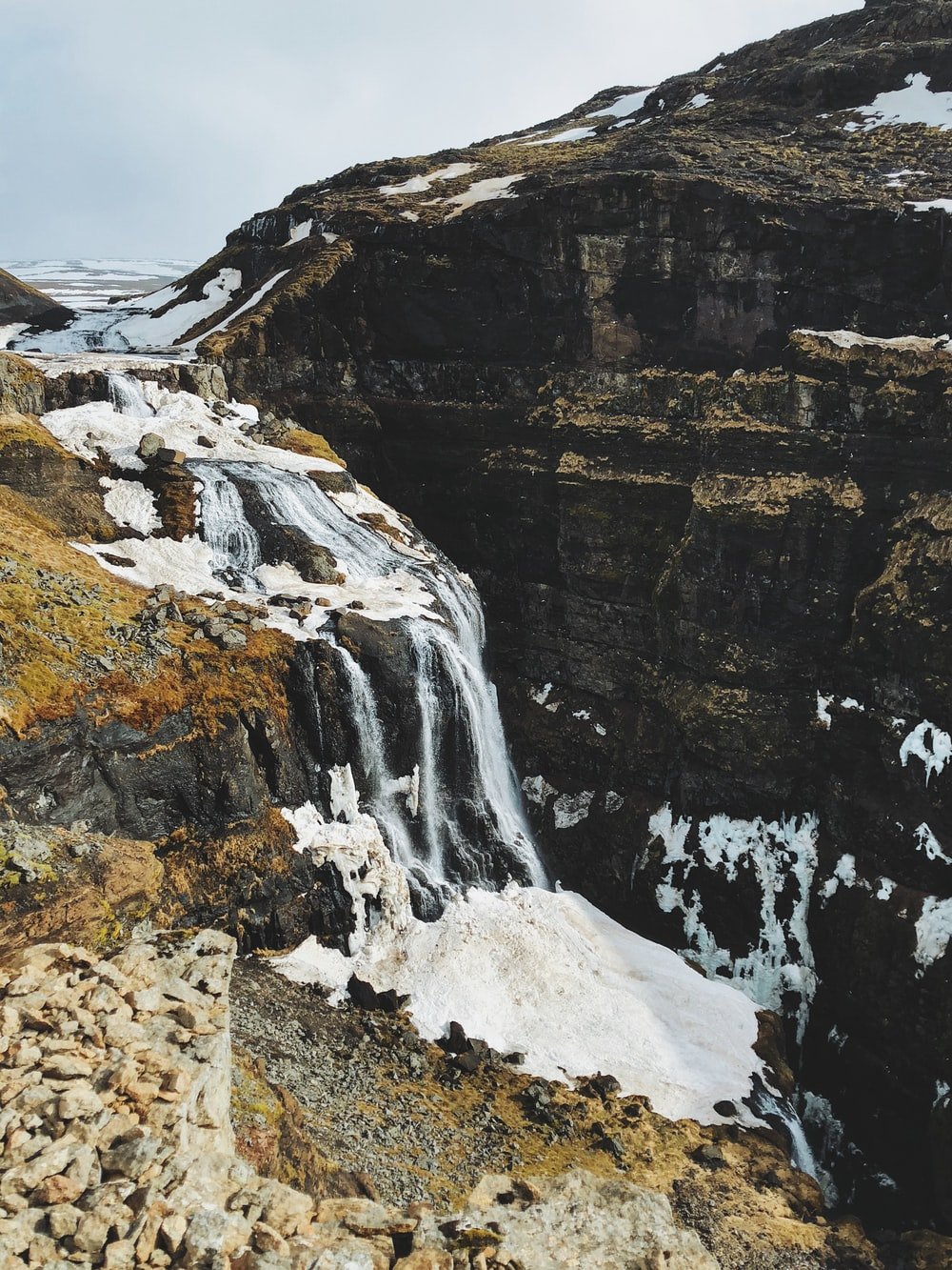 waterfall on cliff