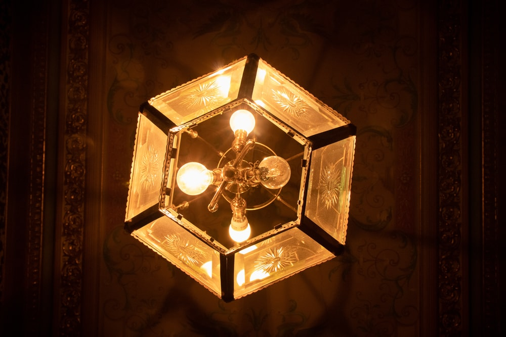 turned-on chandelier