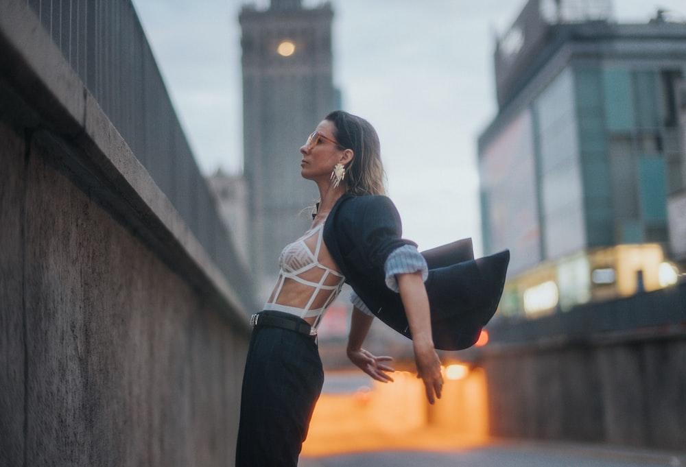 woman flipping her blazer