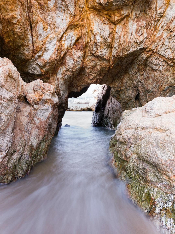 Long exposure, seaside tunnel