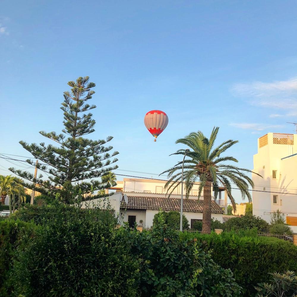 hot air balloon on flight
