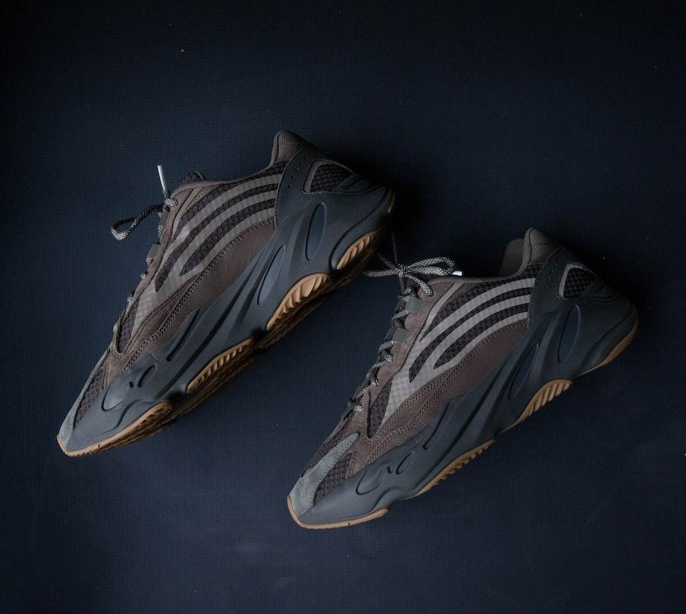 pair of gray sneakers