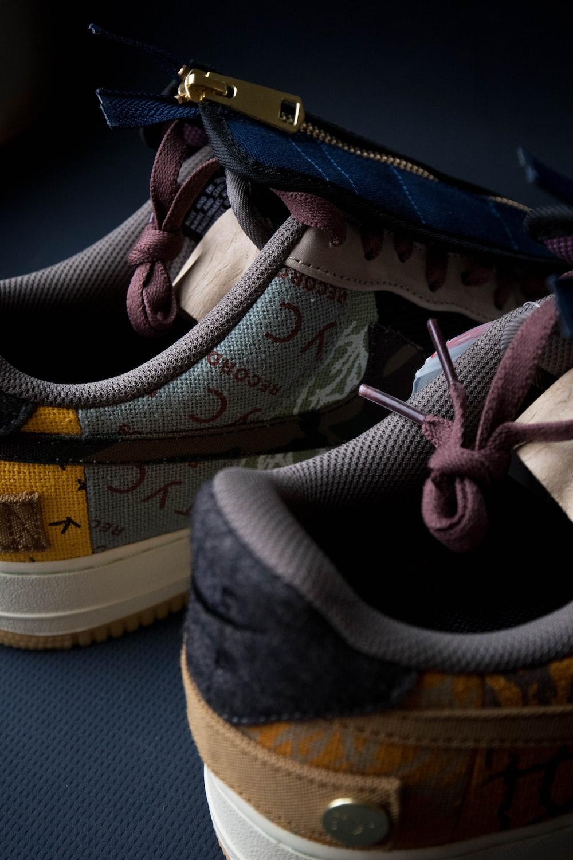 pair of multicolored sneakers