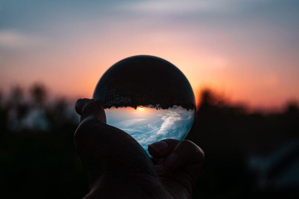 lensball photography of snowy field