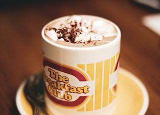 The Breakfast Club ceramic mug with cappucino