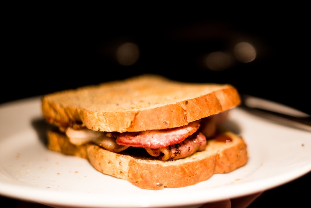 sandwich with ham and cheese on plate