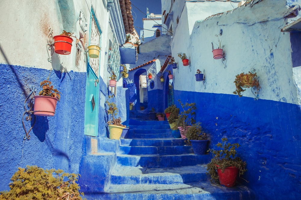 blue concrete alley stairs