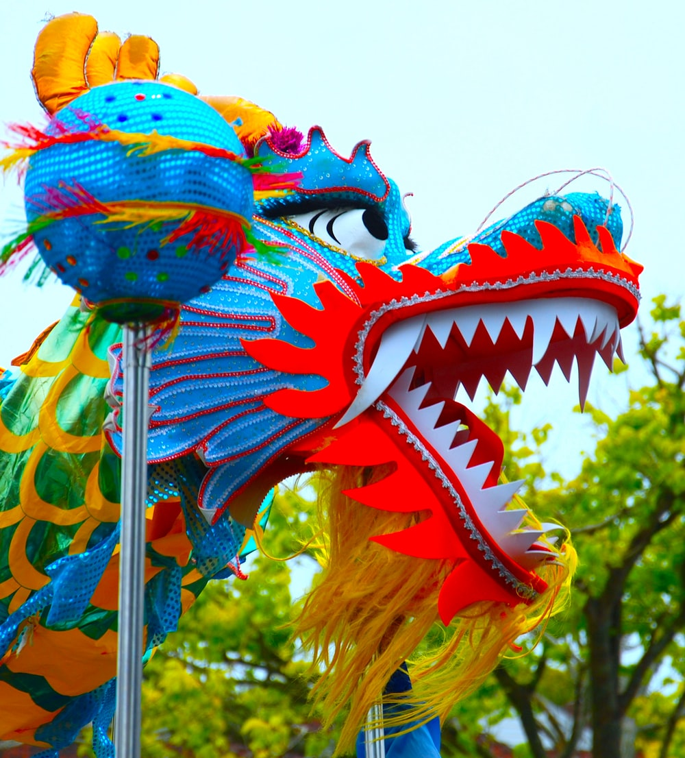 blue and red dragon decor