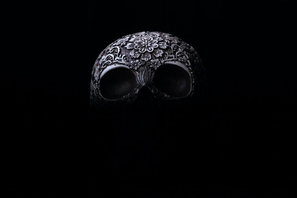 gray skull mask