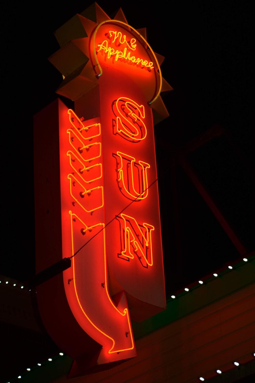 red sun signage