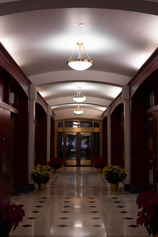 hallway with flowrs
