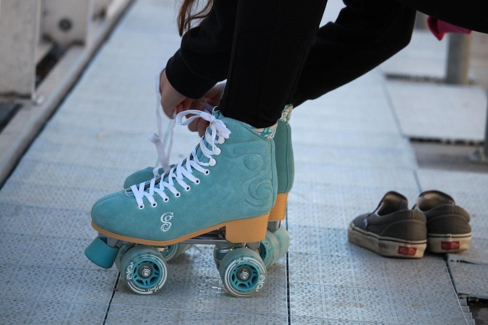 blue-and-white roller skates