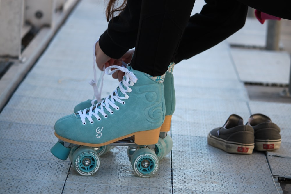 blue-and-white roller skates
