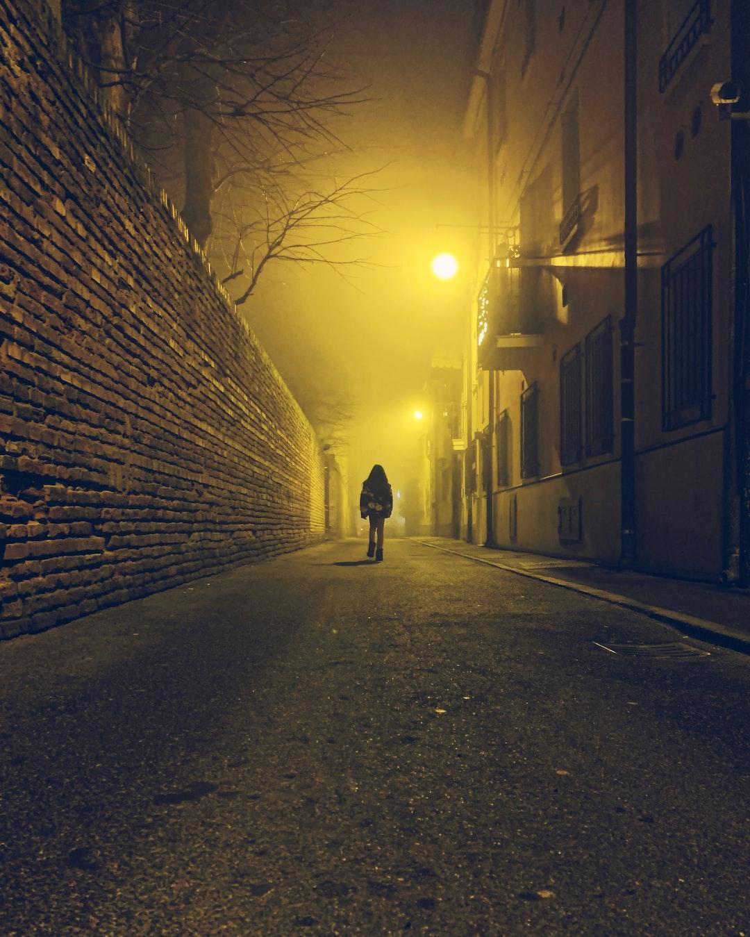Foggy empty nighty lonely