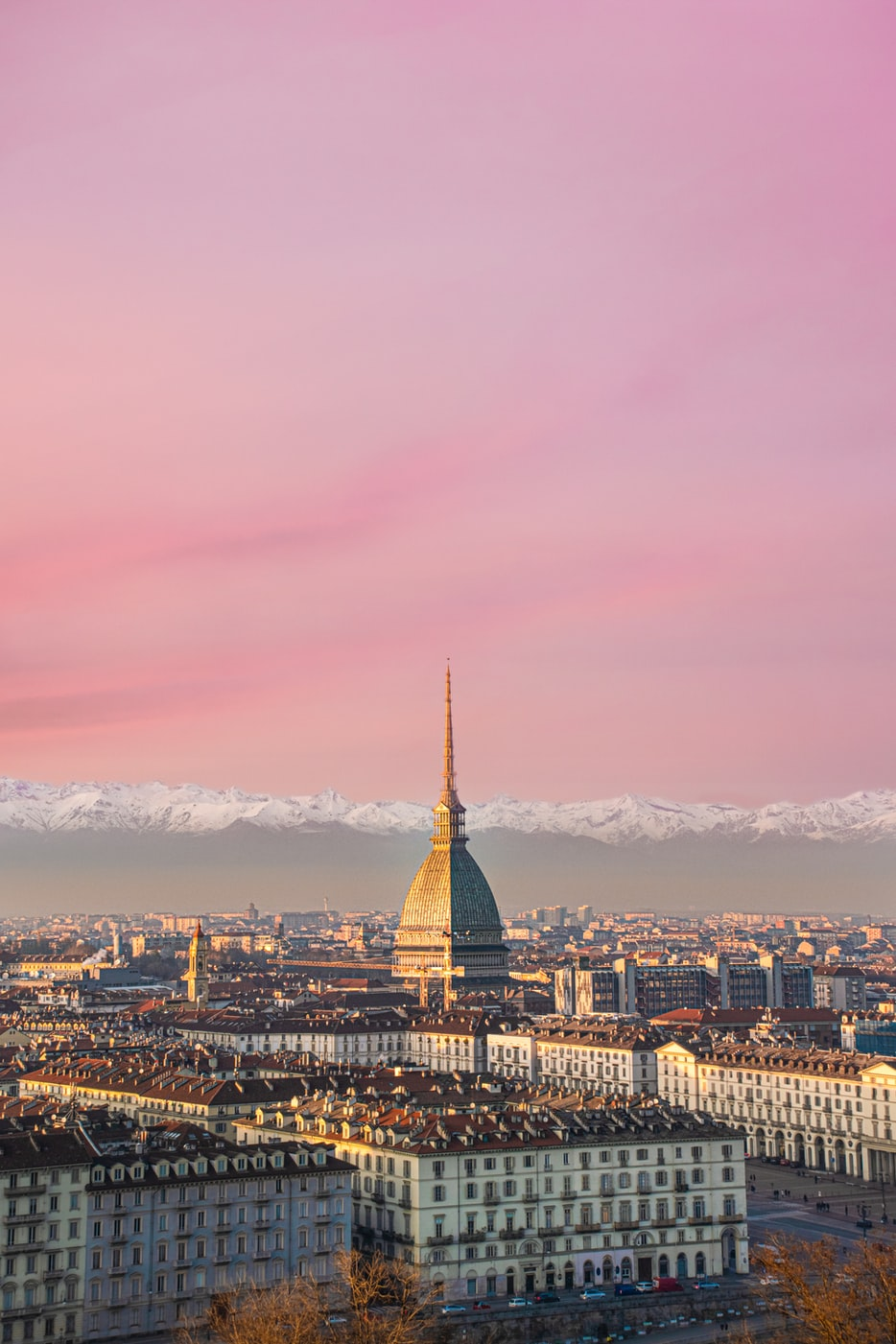the skyline of Turin, Italy
