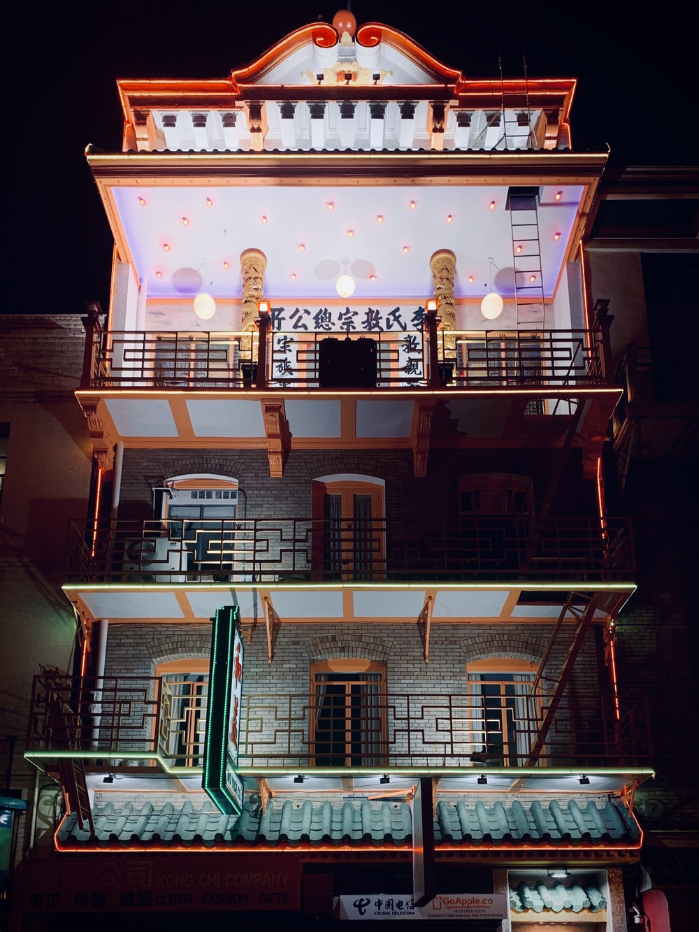 building with balconies during night