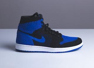 blue and black Air Jordan 1 shoe
