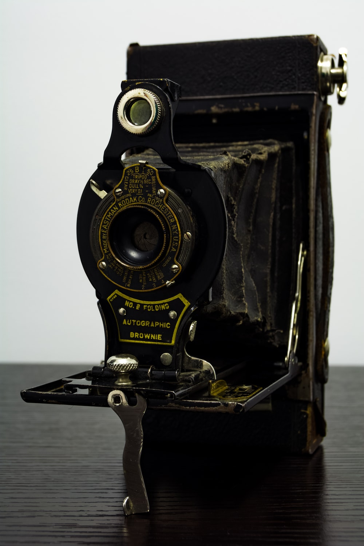 black folding camera