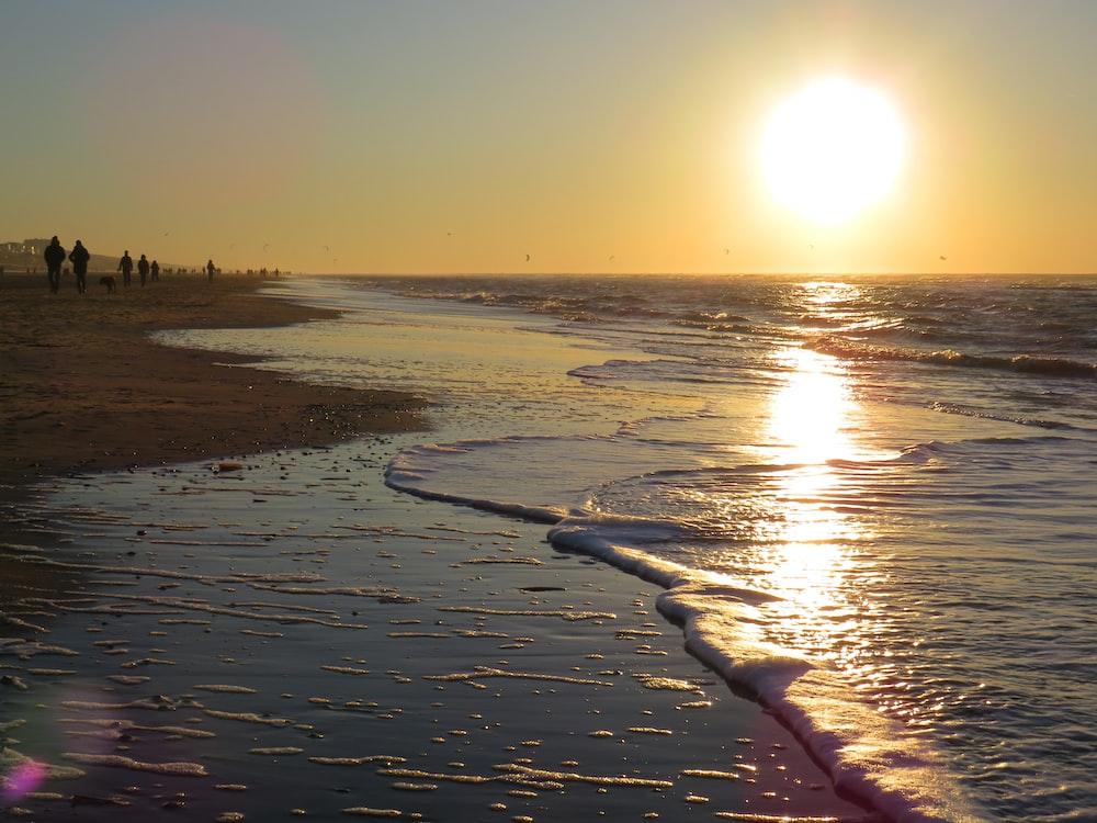 people walking beside shore near sea during dawn