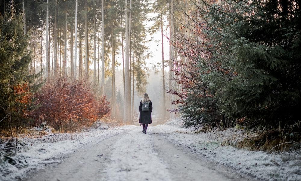 woman walking between trees during daytime
