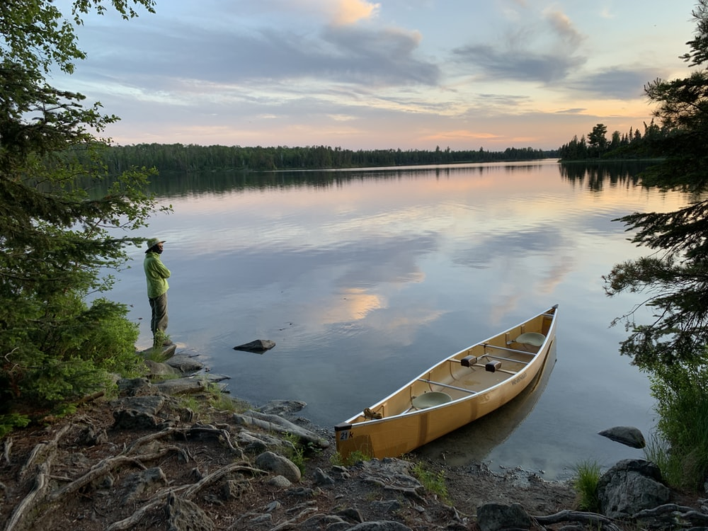 brown canoe