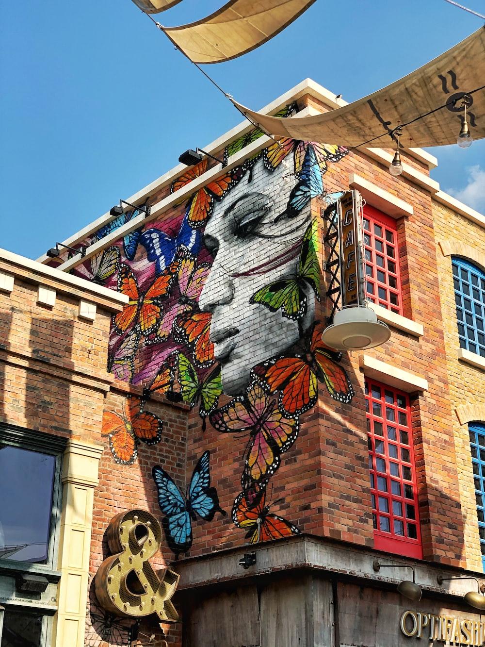 assorted-color butterflies graffiti