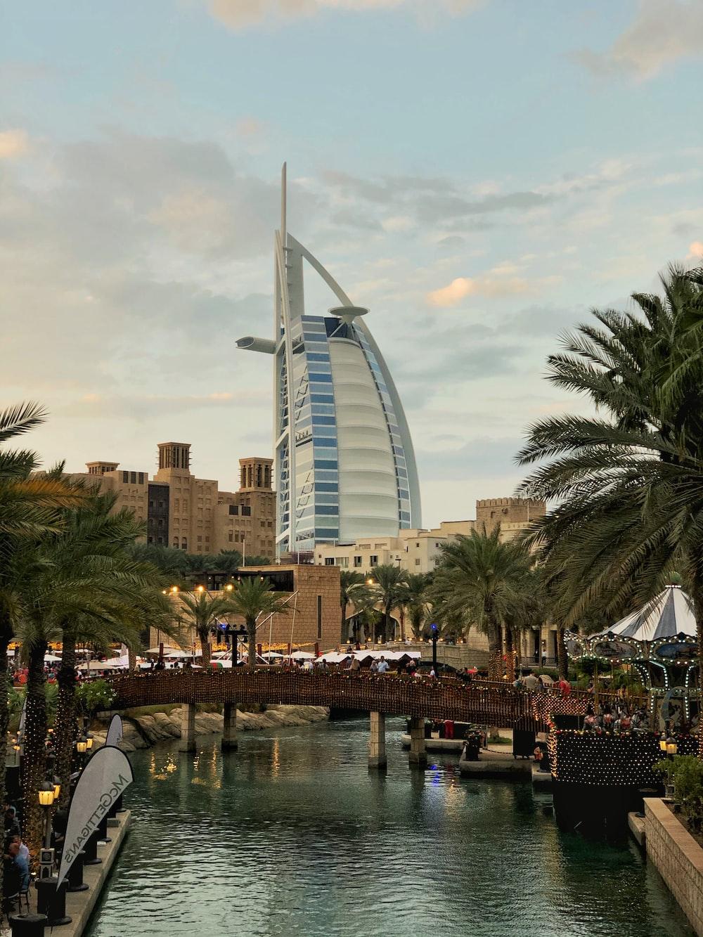 Burj Al Arab, Dubai, UAE under white sky