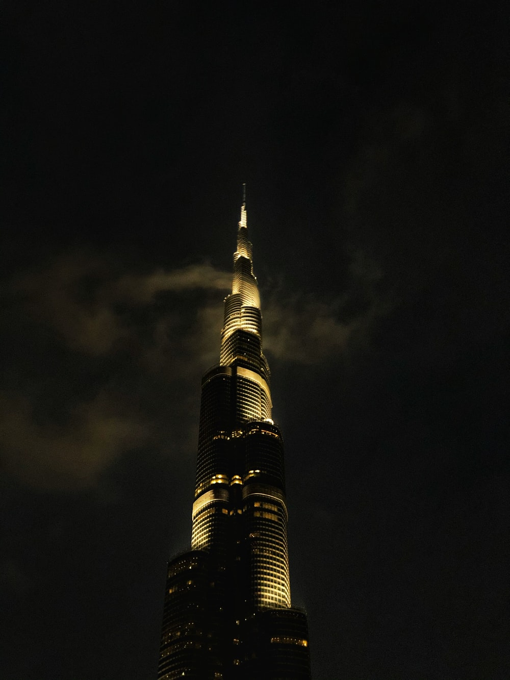 silhouette of building during nighttime
