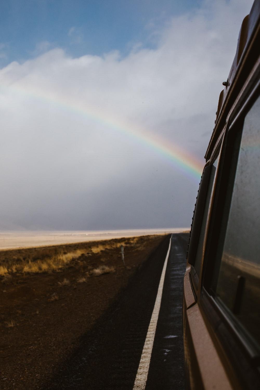 rainbow and cloudy sky