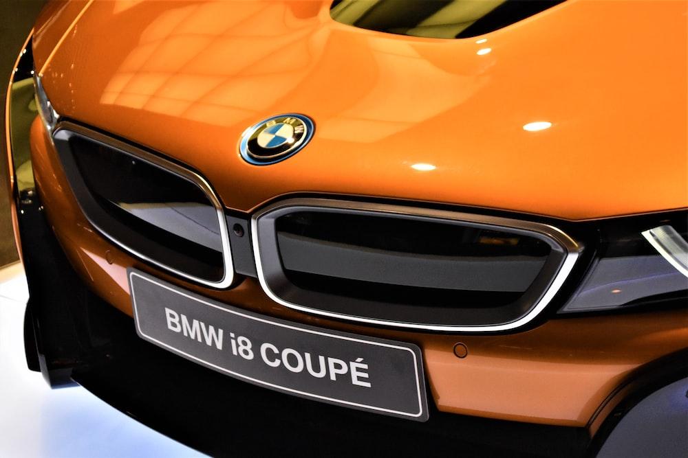 orange BMW i8 coupe