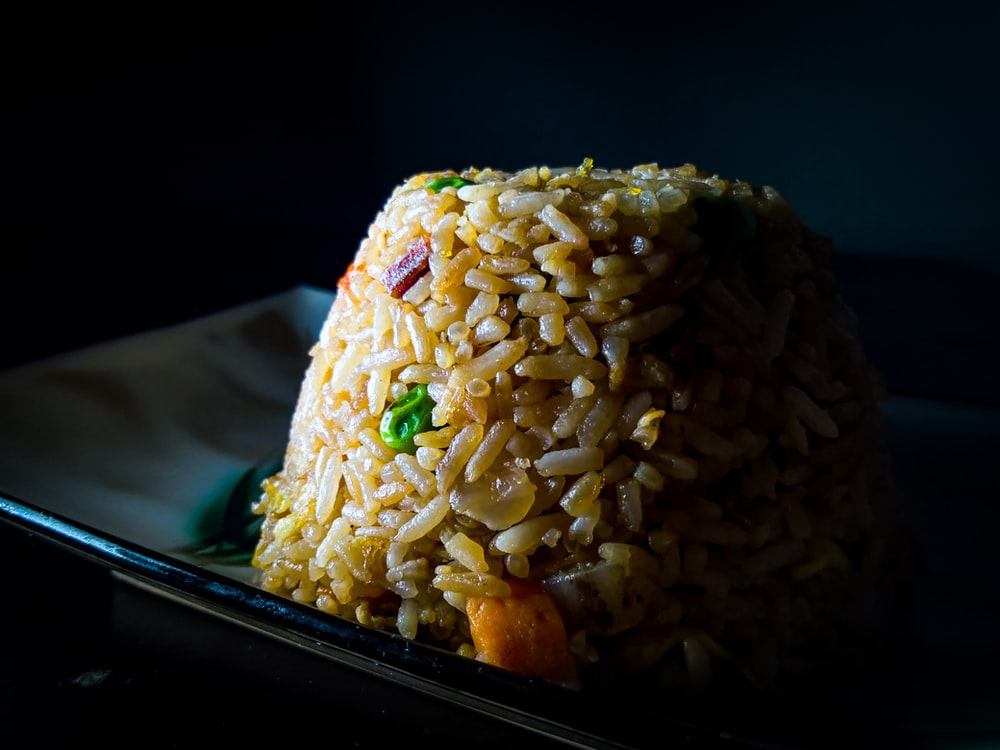 fried rice on ceramic plate