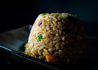 fried rice on ceramic plate