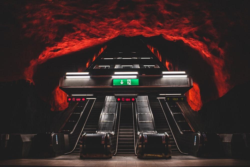 black and grey escalator