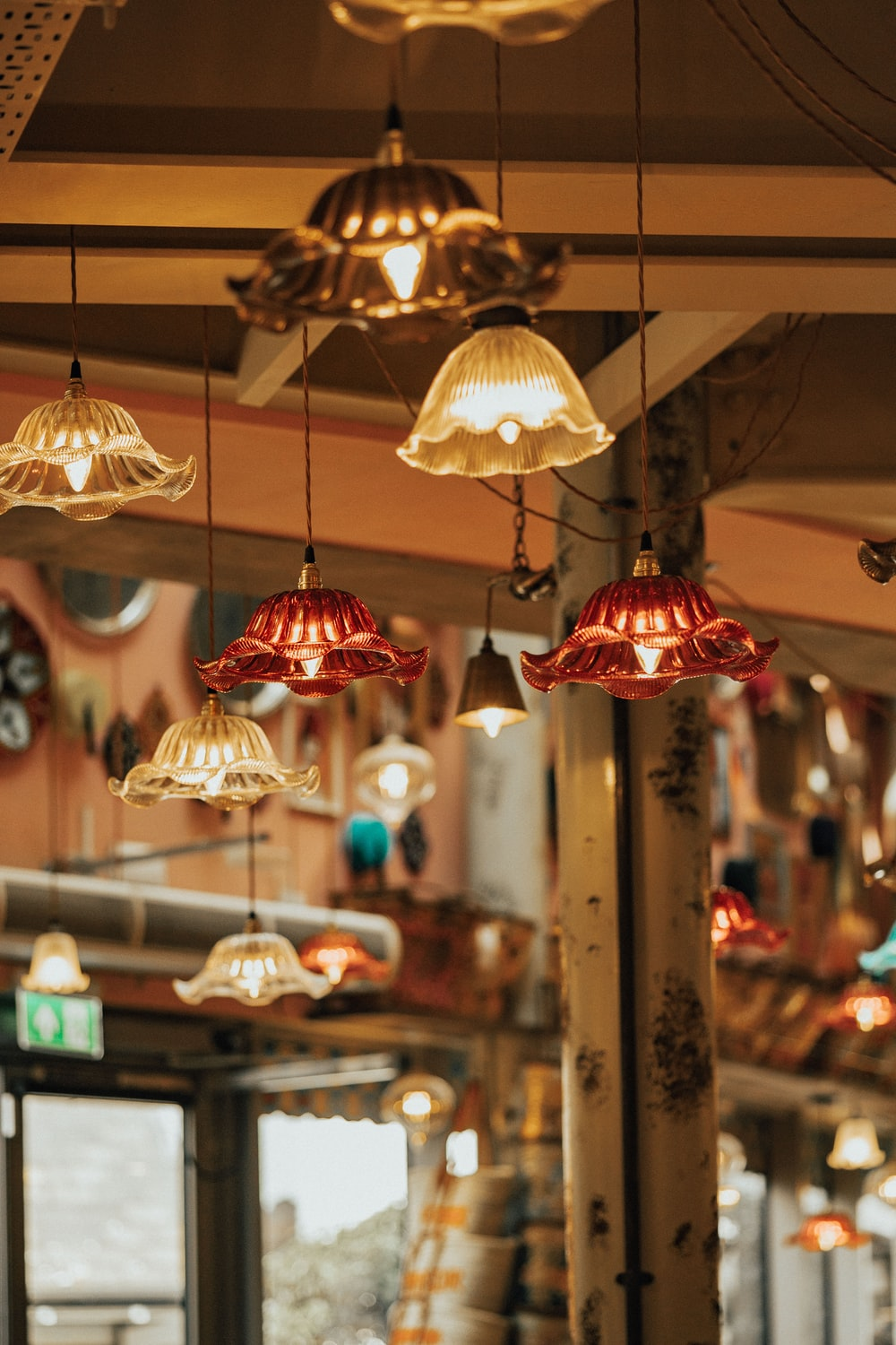 assorted-color pendant lamps