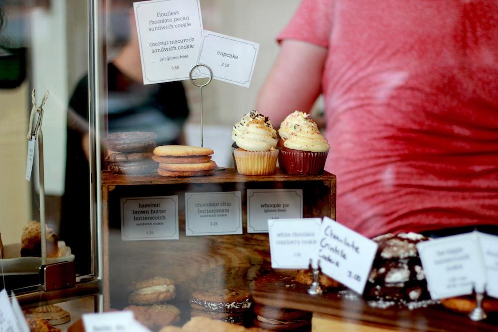 cupcakes on wooden display rack