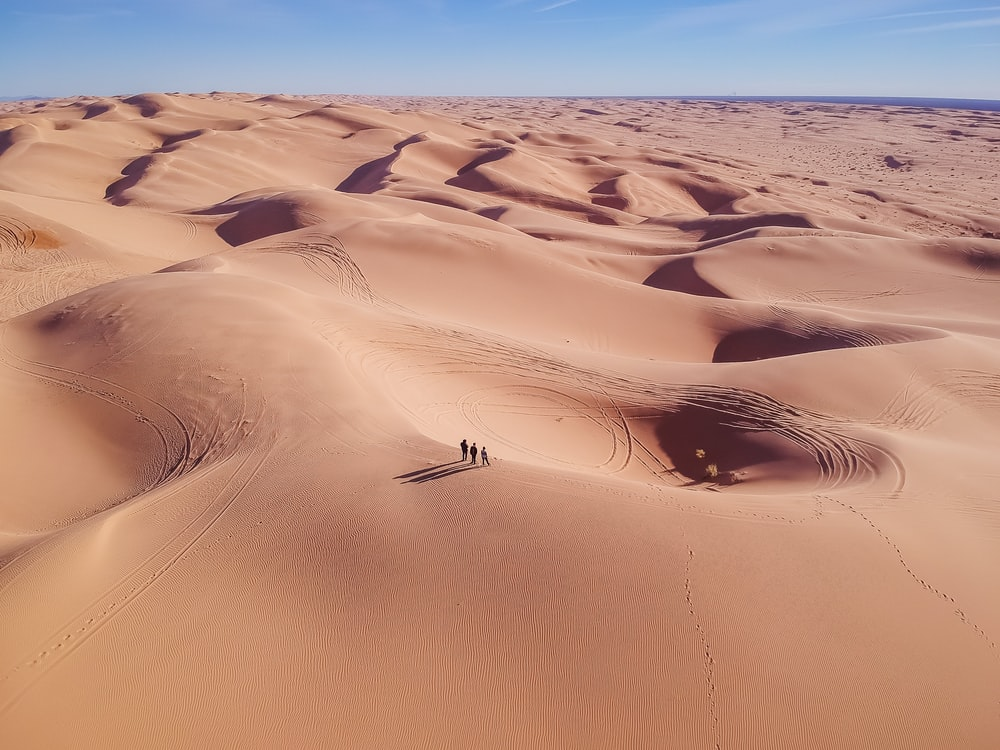three person standing on desert sand during daytime