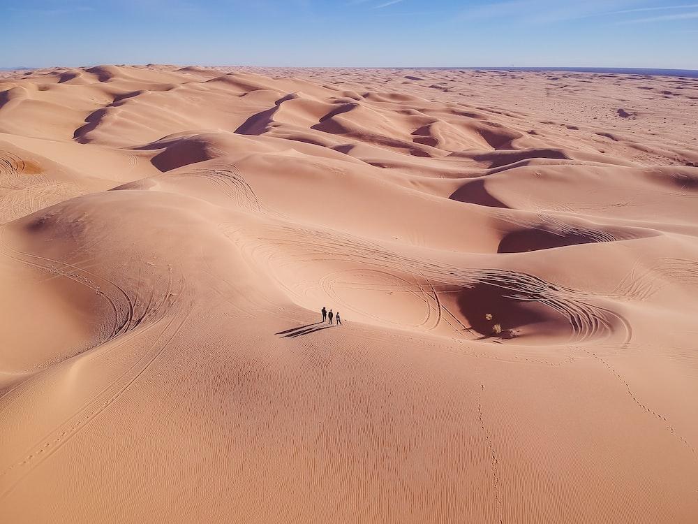 three person standing on desert sand during daytime