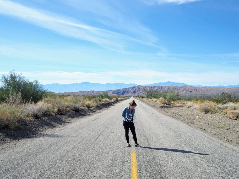 woman on road