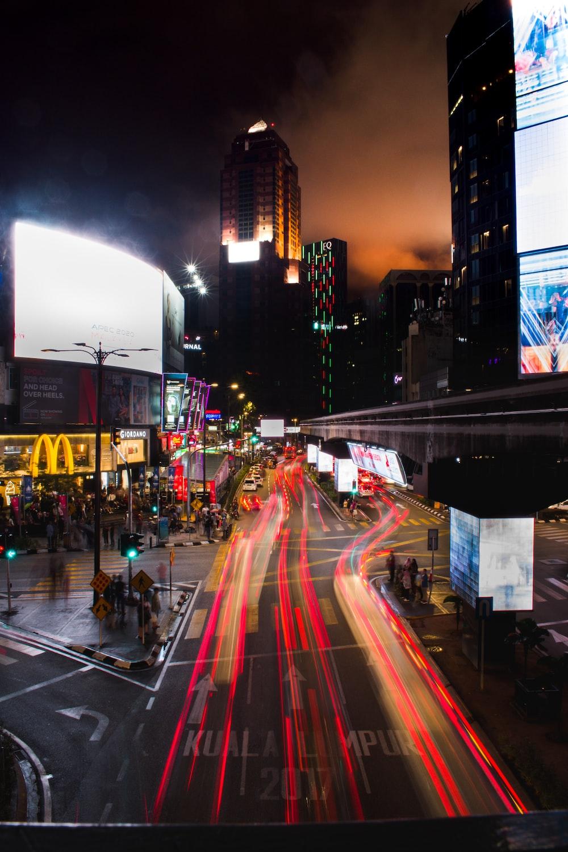 long exposure street lights