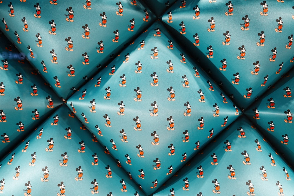 blue Mickey Mouse print shirt