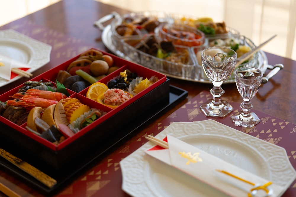 dishes in bento box