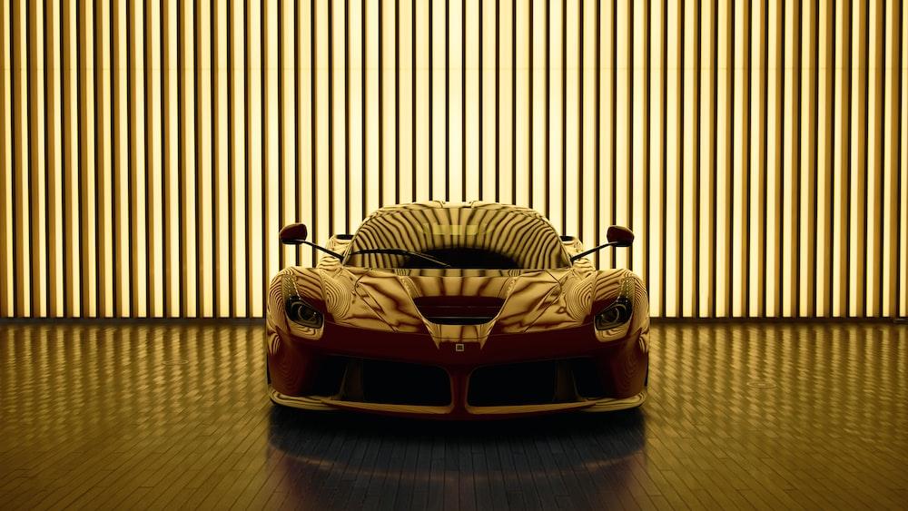 parked sports car inside building