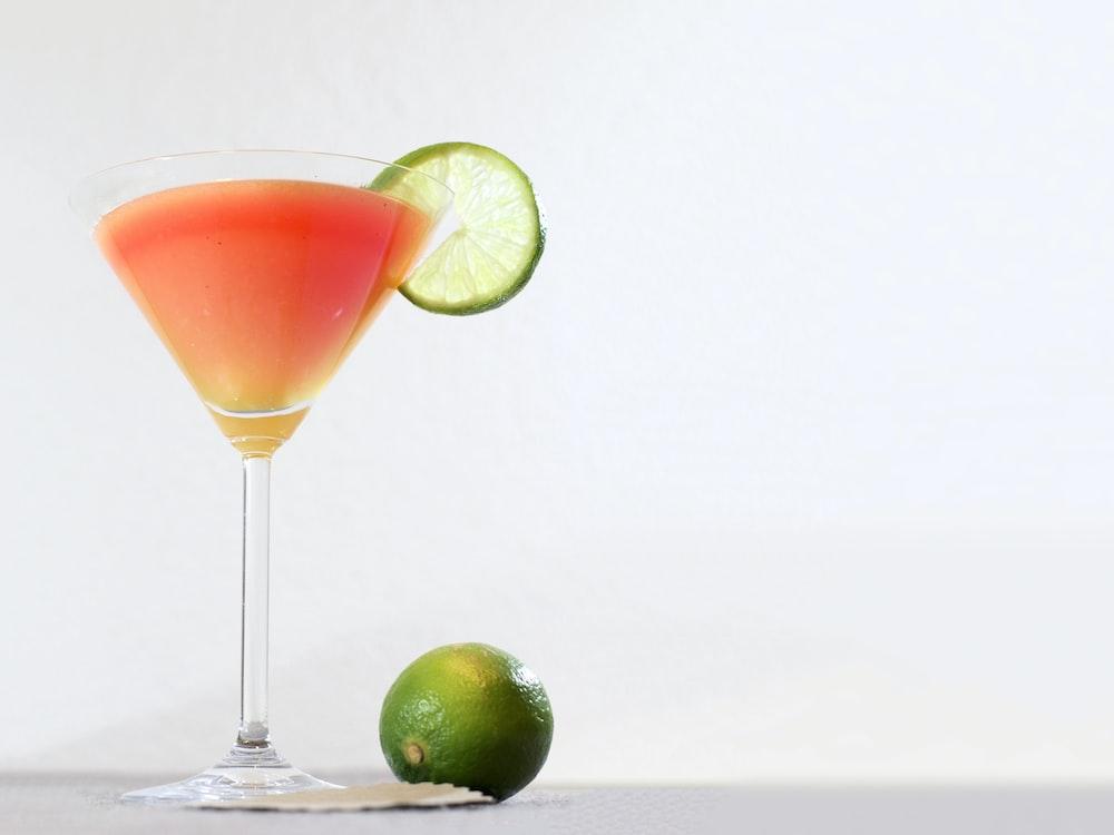 juice with sliced lemon on top
