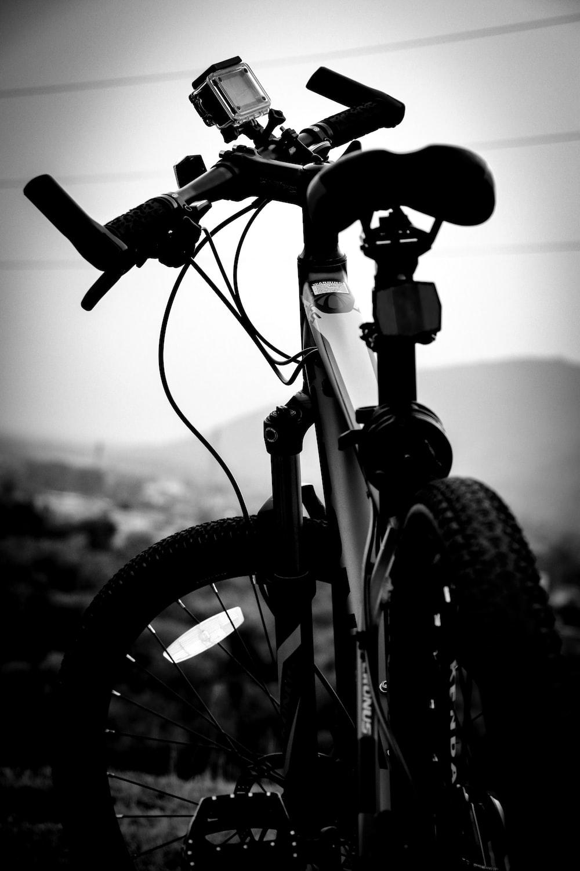 grayscale photo of bike