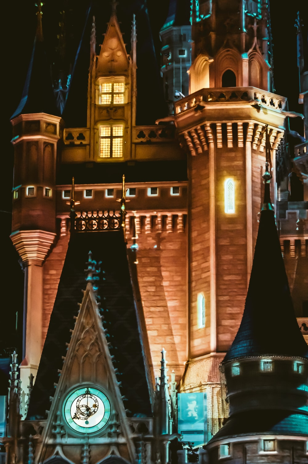 brown and black castle during night time