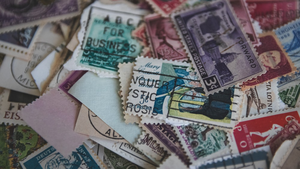 pile of postage stamps