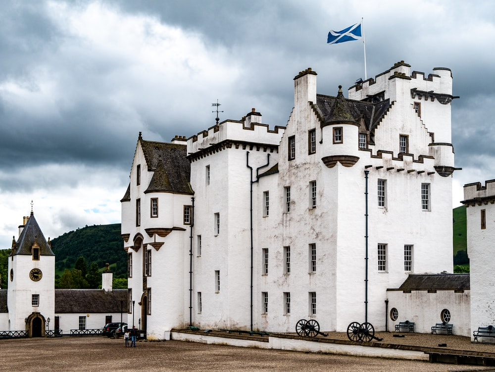 Blair Castle in Atholl, Scotland under white and gray sky