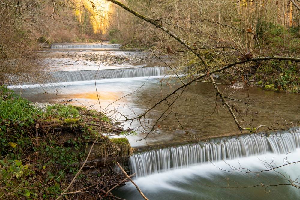 water stream during daytime