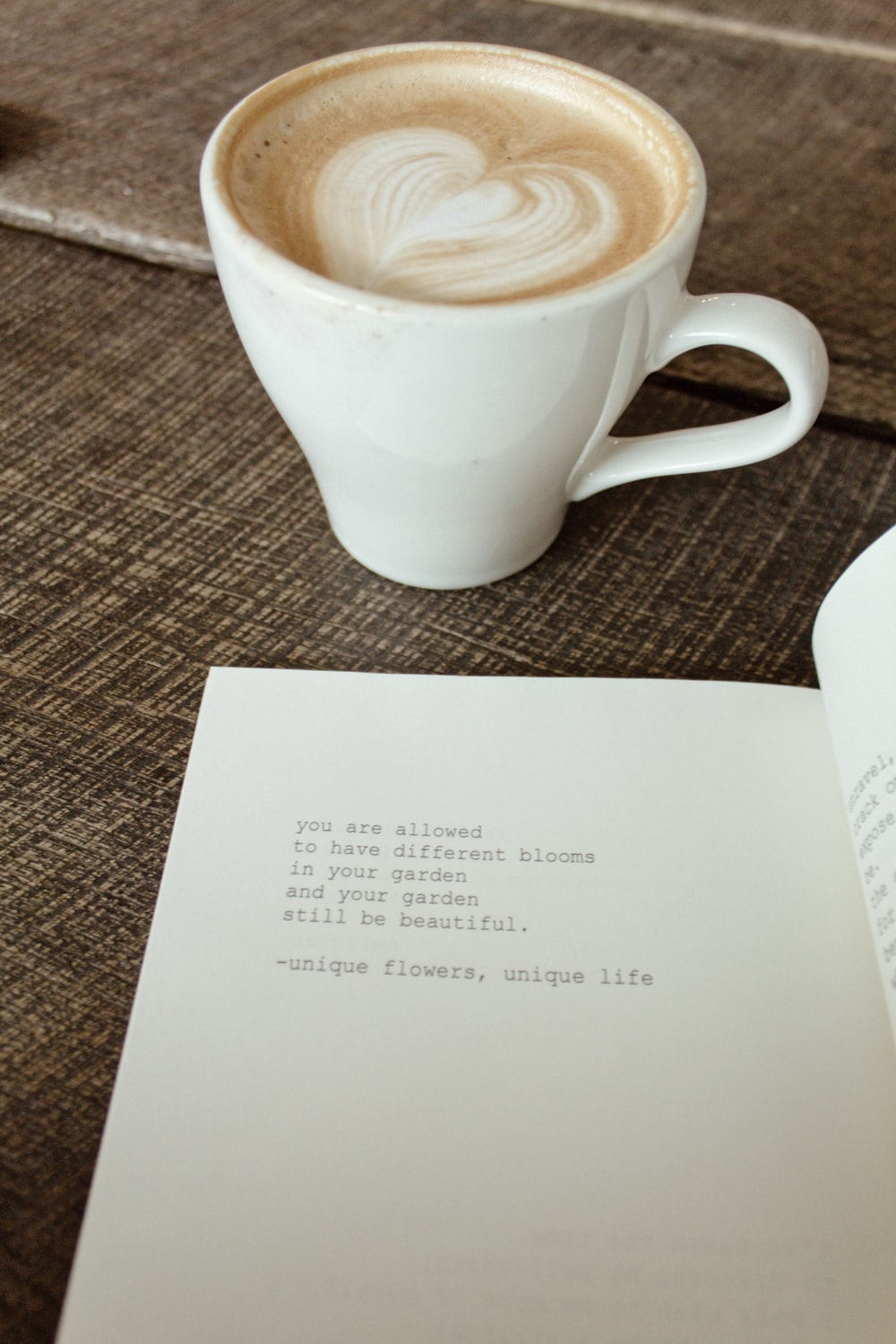 latte on top of open book